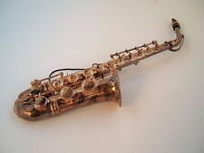 Vintage Silver plated ? Saxophone Musical Christmas Tree Ornament,