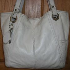 Large Rustic White Leather Fossil Vintage Shoulder Bag Tote & Key Chain Fob