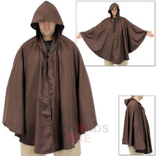 Renaissance Gothic SCA & LARP Costume Shoulder Hooded Cape Cloak Brown