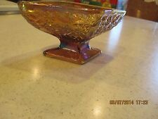 Marigold Carnival Glass Depression Indiana Daisy Footed&Stemmed Triangle Compote