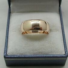 Vintage Gents / Ladies Heavy 9ct Gold Olain Wedding Ring
