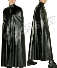 100% Latex Rubber Poncho Cape Robe Catsuit Bodysuit Black Gothic Halloween Party
