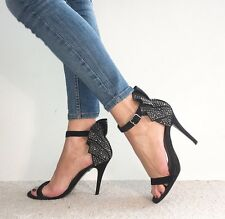 RIVER ISLAND Black Suede Ankle strap Studded Diamanté Ruffle Back High Heels 6