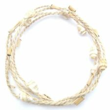 BAMBOO AND SHELL WRAP AROUND FRIENDSHIP BRACELET ANKLET  STRAP TIE ON