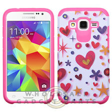 Samsung Core Prime Advanced Armor Case-Heart Graffiti White/Hot Pink Protector