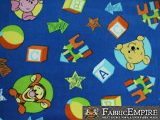 Polar Fleece Fabric Print WINNIE THE POOH TOYS BLUE BACKGROUND LICENSED Sold BTY