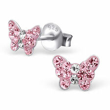 childrens 925 Sterling Silver Light Pink crystal butterfly Stud Earrings cute