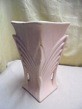 Vintage 1941 McCoy Pottery Handled Art Deco Salmon Pink Leaf Vase, Planter 9.25""