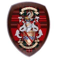 Scottish MADE Royal Stewart Tartan CLAN WOODCARVER cappotto delle armi di legno scuro 10x12