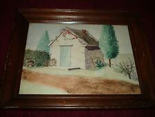 PRIMITIVE FOLK ART NIAVE WATERCOLOR COTTAGE LANDSCAPE PAINTING IN WOOD FRAME
