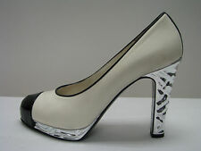 shoes CHANEL HEELS WOMEN LEATHER PUMPS WHITE SILVER BLACK ITALY 40  10