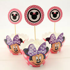 12 x Minnie Mouse Cupcake Cup Cake Decorating,Toppers Wrappers PARTY DECORATION