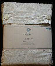NEW Simply Shabby Chic Twin Sheet Set ~ Gray Floral Stitch ~ 3-Piece Sheets ~