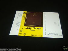 THE FACES Long Player NEW ZEALAND Unused Inlay Card