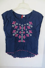 Women's Divided Dark Blue Embroidered  Shirt Size 6
