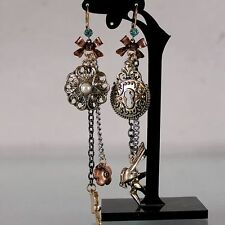 E287 BETSEY JOHNSON Love Lock Tassel w/ Arrow Pigeon Bird Swallow Earrings US