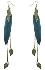 F1939 fashion turquoise Feather bronze leaf chain light dangle earrings New