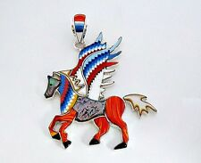 HANDCRAFTED (PEGASUS) HORSE TURQUOISE/MULTICOLOR INLAY IN .925  SILVER PENDANT