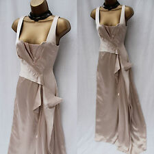 KAREN MILLEN Champagne Silky Satin Long Maxi Ball Gown Prom Cocktail Dress 10 UK
