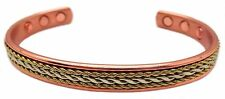 MAGNETIC SOLID COPPER GOLD/COPPER ROPE TWIST DESIGN THERAPY BRACELET BANGLE 0905