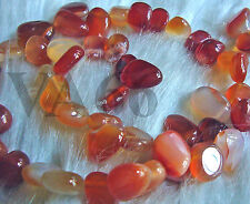 "DIY 16"" Fire Orange Red Agate Briolette Gemstone FLAT Water Drop Gems Batu Asli"