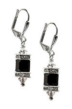 Swarovski Elements Jet Black Cube Crystal Rhinestone Squaredelle Earrings