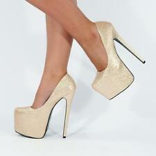 LADIES HIGH HEEL STILETTO COURT SHOES CONCEALED PLATFORMS ULTRA KILLER HEELS