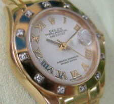 ROLEX LADIES 18K YELLOW GOLD WHITE ROMAN PEARLMASTER MASTERPIECE DATEJUST #80318
