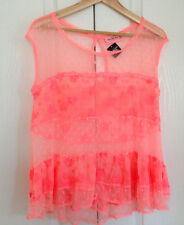 Abercrombie & Fitch Women Top L Orange Lace Mesh Floral Dot Tier Sleeveless New
