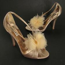 Badgley Mischka Shoes 7M Beige Satin Heels Flower Feather Peep Toe Strappy