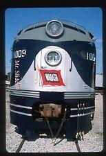 Original Slide Spencer Streamliners: WAB Wabash Fresh Paint Nose View E8A 1009