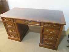 56935  Leather Top Walnut Traditional Executive Office Desk w/ File Drawers