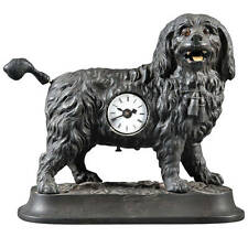 A Rare German Antique Cast Iron Animated Dog Novelty 8-Day Timepiece/Clock.