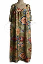 MuMu House Shifts Dresses Duster Floral Prints Polyester Size 6X Army Green