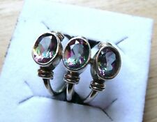 MYSTIC TOPAZ 925 STERLING SILVER TRIPLE OVAL STONE RING SIZE L US SZ 6