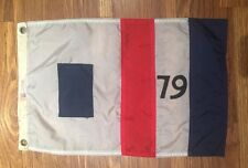 "Vintage Yacht Boat Flag Nautical Red White Blue Stripes 79 Globalite 12""x19"""