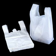 "100 x  JUMBO LARGE Strong White Plastic Vest Carrier Bags 13""x19""x23""-*FREE P&P*"