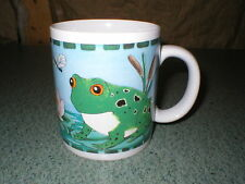 """Frog Lily Pad Dragonfly Papel Giftware Mug Cup 3 11/16"""" Tall x 3 1/4"""" Diameter"""