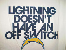 SAN DIEGO CHARGERS Short Sleeve T Shirt 2XL LIGHTNING DOESN'T HAVE AN OFF SWITCH