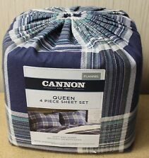 NEW CANNON QUEEN SIZE 4PC BLUE PLAID STRIPED FLANNEL COTTON SHEETS SHEET SET