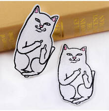 Middle Finger Cat Embroidery Sew Iron On Patch Badge Fabric Applique Craft DIY