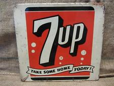Vintage Metal 7up Display Sign   Antique Old Soda Pop Cola Store Beverage 9125