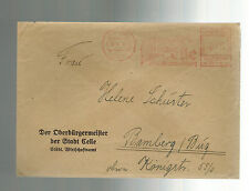 1941 Celle Germany Meter cover to Bamberg Lord Mayor Office