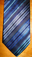 ENGLISH COLLECTION -ENGLAND CLASSIC ELEGANT BLUE STRIPED 100% SILK TIE