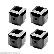 Glass Faceted Square Cube Beads Jet Opaque Black Color 6mm Bead