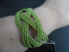 Design Six Green Beaded Cuff Bracelet Bangle Adjustable BNWT