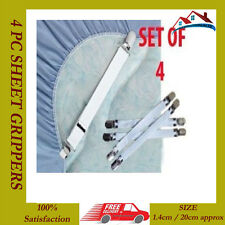 4 X SHEET GRIPPERS STRAPS FASTENERS HOLD GRIPS SHEETS ELASTIC CHROME CLIPS NEW