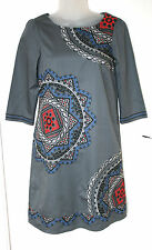 MONSOON UK8 EU36 GREY COTTON LINED DRESS WITH 3/4 SLEEVES AND EMBROIDERED DETAIL