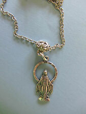 "UNISEX ant.SP OUR LADY OF THE MIRACULOUS MEDAL &18-20"" CHAIN  NECKLACE"