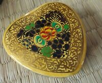 Hand painted kashmir papier mache heart cream floral design trinket box